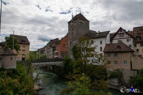 Schwarzer Turm und erste Brücke von Brugg.