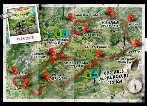 Strecke Red Bull Alpen Brevet 2013.