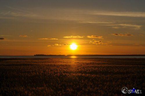 Bodden / Ostsee. Gigantischer Sonnenuntergang.