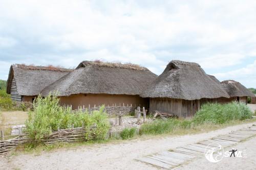 Häuser im Wikinger Dorf.